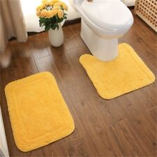 100% Cotton Bathroom Washable Bath Mat Pedestal Door Floor Rug Mat Set Yellow