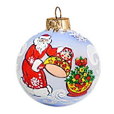 """3"""" Blue Ball Christmas Glass Ornament with Father Frost Russian Santa Matryoshka"""