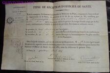 doc111 - DIPLOME PARCHEMIN OFFICIER DE SANTE 1835