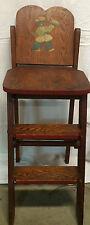Vintage 1940s wood Step Stool Chair Ladder folding - primitive farmhouse shabby
