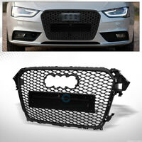 Fits 13-16 Audi A4/S4 B8.5 Matte Blk RS Honeycomb Mesh Front Bumper Grill Grille