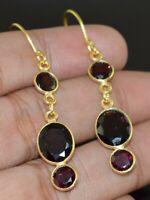 Solid 925 Sterling Silver Oval Shape Red Garnet Stone Handmade Earrings