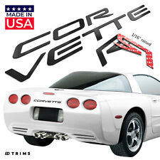 Black Raised Plastic Letters Inserts for Chevrolet Corvette C5 97-04 Front/Rear
