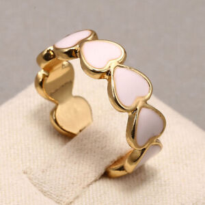 Fashion Enamel Pink Heart Ring 18k Gold Jewelry Women Cocktail Party Size6-10
