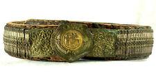 Amazing Silver & Gold Leather Ottoman Folk Handmade Belt Buckle Antique VTG