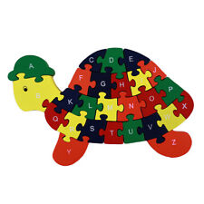 Wooden Turtle Puzzles English Alphabet Jigsaw Toy Kids Cognitive Development Toy