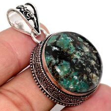"""African Turquoise 925 Sterling Silver Plated Vintage Style Pendant 1.7"""" GW"""