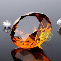 30mm Amber Crystal Diamond Shape Paperweight Glass Display Wedding Gift Ornament