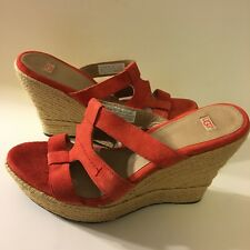 UGG Women Size 10 US. Tawnie Wedge Leather Shoes Sandal Red Orange Suede GUC