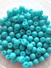 6mm Glass faux Pearls - Sky Blue Opaque (jewellery making)