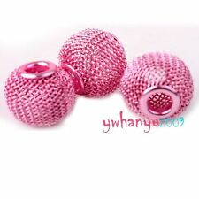 20P Pink Metal Mesh Wire Rondelle Ball Charms Beads Fit European Bracelets 16mm