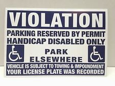 10 VIOLATION Handicap Disabled ONLY No Parking Sticker Tow Impound Warning Sign