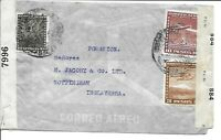CHILE POSTAL HISTORY WWII DUAL CENSORED COVER ADDR ENGLAND CANC YRS'40