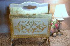 Vintage Large Gold & Cream Gilt ITALIAN FLORENTINE MAGAZINE HOLDER Rack