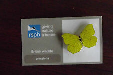 RSPB Giving Nature a Home Brimstone Metal Pin Badge on Card  NOC