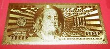 BEST PRICE LOT: 1 MINT 24k GOLD FOILED PLATED BEN FRANKLIN NEW $100 NOVILTY BILL