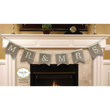Burlap Mrs & Mrs Banner New Wedding Decor Gift Rustic Chic Cute Tags Hang