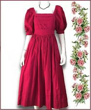 VTG Laura Ashley red 100% cotton puff sleeves belt dress US 10 UK 12 Eur 38 GB