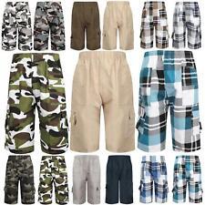 Short Camouflage Checked Multipocket ¾ Longueur Combat Garçons Enfants Âge 3-14
