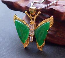 Yellow Gold Plate Green JADE Pendant Butterfly Diamond Imitation 320844 US