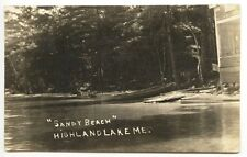"Highland Lake ME ""Sandy Beach"" Boats RPPC Real Photo Postcard"