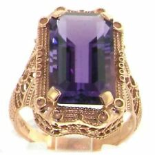 IMPRESSIVE! 9ct Solid Rose Gold Large Natural Amethyst Womens Ring Hallmarked