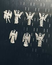 1 Set of 7 Archangels Charms/Medals Silver *NEW*  - Los 7 Arcangeles
