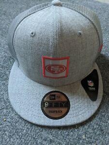 NEW Gray/Grey New Era San Francisco 49ers Shanahan Square Trucker Snapback