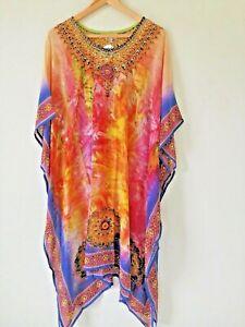Womens' Kaftan Dress Chiffon Kimono Boutique Ladies Beach Top Cover Up Jewelled