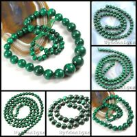 """Natural Green Malachite Round Spacer Beads 15"""" 4mm 5mm 6mm 10mm FREE SHIPPING"""