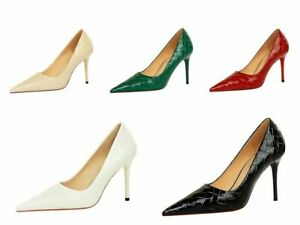 Ladies Pointed Toes Shoes Synthetic Leather High Heels Party Pumps AU Size S988