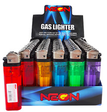 100 NEON GAS DISPOSABLE BUTANE LIGHTERS NEW  BOXED - Free Shipping