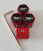Mustang Black top Red Wheel Valve Dust caps ANTI THEFT all Models