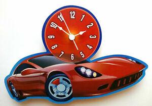 CHILDRENS RED SPORTS CAR CLOCK HAND MADE WOODEN CLOCK NURSERY CLOCK