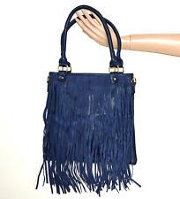 SAC BLEU pochette femme faux cuir à main franges en daim clutch bag handtas G89