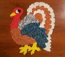 Vintage Melted Plastic Popcorn Thanksgiving Turkey Decoration Large 21 x 16 in.