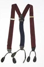 CAS Woven Braces Suspenders Burgundy Navy Blue Lizard Print Leather Button Tabs