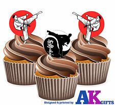 12 X Karate Martial Arts Mix EDIBLE WAFER CUP CAKE TOPPERS STAND UPS Birthday