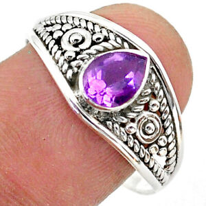 1.34cts Solitaire Natural Purple Amethyst 925 Sterling Silver Ring Size 9 T39962
