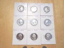 1970 1971 1972 1973 1974 1976 1977 1978 1979 S Proof Quarter 9 Coin Set Lot