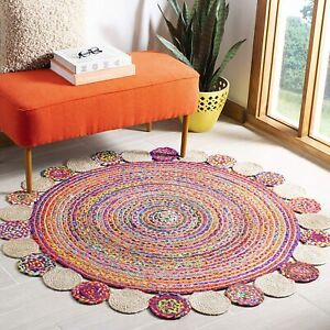 Rug Cotton Jute Round 100% Natural Style Rug Reversible Braided Modern Look