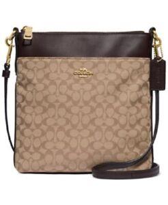 NEW COACH Womens Kitt Brown Shoulder Bag Crossbody Hand Bag Canvas Trim Leather