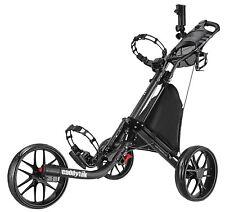 Silver CaddyTek CaddyLite EZ-Fold 3 Wheel Golf Push Cart Caddy - Dark Grey New