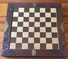 """Vtg Wooden Chess Set - Carved Pieces With Storage 18""""x 35"""""""