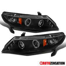 For 2006-2011 Honda Civic 4Dr Sedan Black LED Halo Rim Projector Headlights