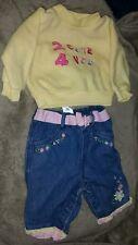 0 to 3 months Carters floral denim jeans & little lindsey yellow fleece shirt.