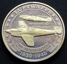 """1939-1945 Medal: Luftwaffe - ME.109 Figher """"Messerschmitt"""", 1 oz, 99.9% Silver"""