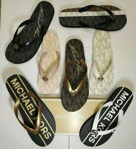 MICHAEL KORS Flip Flop MK Logo Jet-Set NEW Sandals slipon shoes signature charm