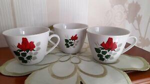 3 Kaffeetassen Seltmann Weiden Porzellan Monika, weiß/Rote Rosen, ca. 50 Jahre !