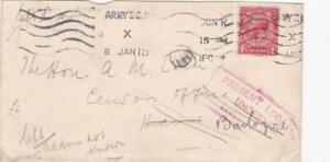 GB1918  WORLD WAR 1 COVER TO HON AM EDEN CENSOR OFFICE PRESENT LOCATION UNKNOWN